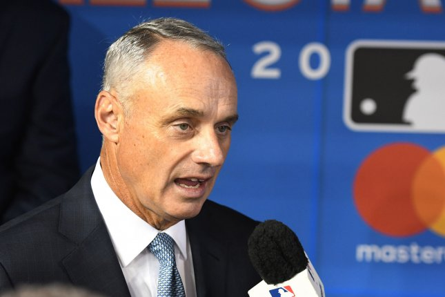 MLB commissioner Rob Manfred suspended former Houston Astros manager A.J. Hinch and general manager Jeff Luhnow for their connection to the team's sign-stealing scheme. He also handed down a $5 million fine and took away multiple draft picks from the Astros. File Photo by Gary I Rothstein/UPI