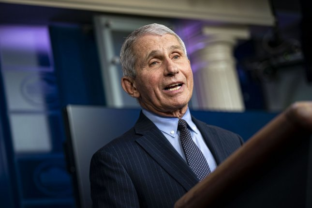 Anthony Fauci, director of the National Institute of Allergy and Infectious Diseases, speaks at the White House last Thursday during a news conference in the James S. Brady Press Briefing Room. Photo by Al Drago/UPI