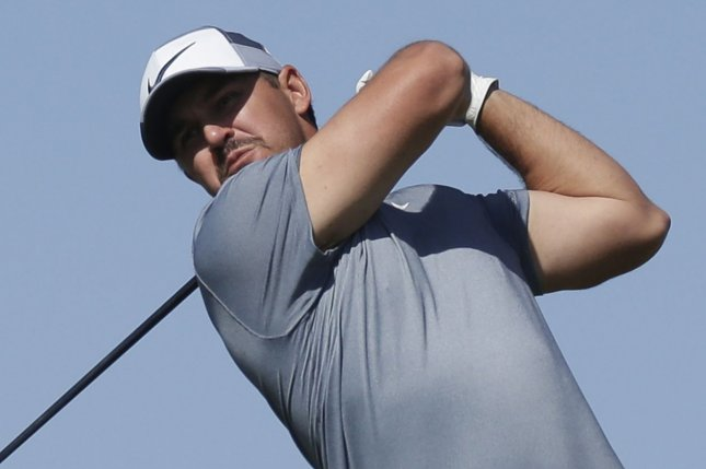 Brooks Koepka hits a tee shot on the 15th hole in the first round of the 103rd PGA Championship on Thursday on the Ocean Course at Kiawah Island in Kiawah Island, S.C. Photo by John Angelillo/UPI