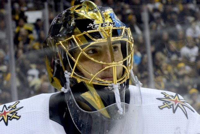 Vegas Golden Knights goaltender Marc-Andre Fleury recorded 30 saves in a Game 6 win over the Colorado Avalanche on Thursday in Paradise, Nev. File Photo by Archie Carpenter/UPI