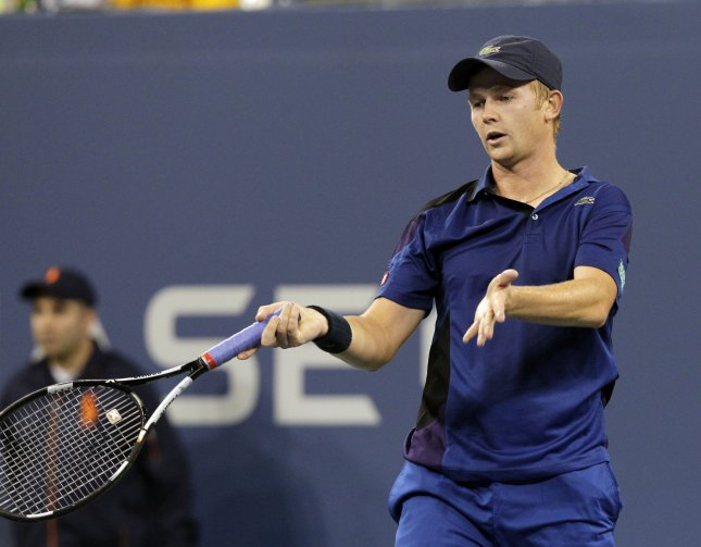 Andrey Golubev, shown in a 2011 file photo, had a four-set win Sunday that locked up a Davis Cup series for Kazakhstan over Austria. UPI/John Angelillo