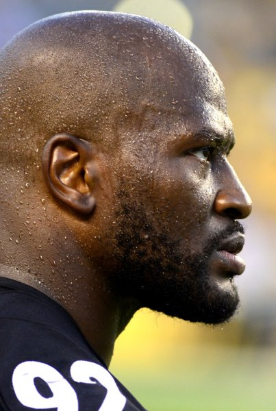 Pittsburgh Steelers outside linebacker James Harrison (92) watches the action during a preseason game against the Detroit Lions at Heinz Field in Pittsburgh on Friday. He's up against an NFL PED investigation. Photo by Archie Carpenter/UPI