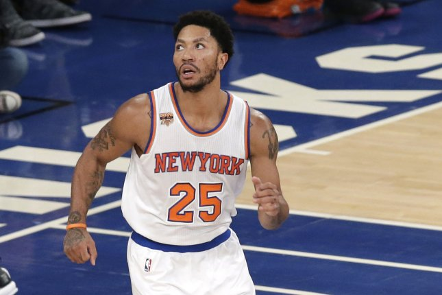 4d39ab3c12bb New York Knicks Derrick Rose runs up the court to play defense in the first  half against the Chicago Bulls at Madison Square Garden in New York City on  ...