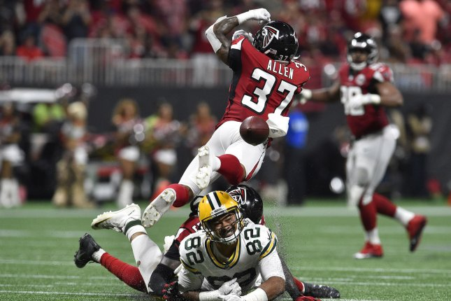 Atlanta Falcons safety Ricardo Allen (37) misses a potential interception on a throw to Green Bay Packers tight end Richard Rodgers (82) during the second half on September 17, 2017 at Mercedes Benz Stadium in Atlanta. Photo by David Tulis/UPI