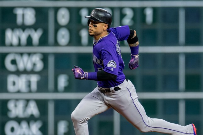 Former Colorado Rockies outfielder Carlos Gonzalez has a new home, as the slugger has singed a minor league deal with the Cleveland Indians for the 2019 season. File Photo by Trask Smith/UPI