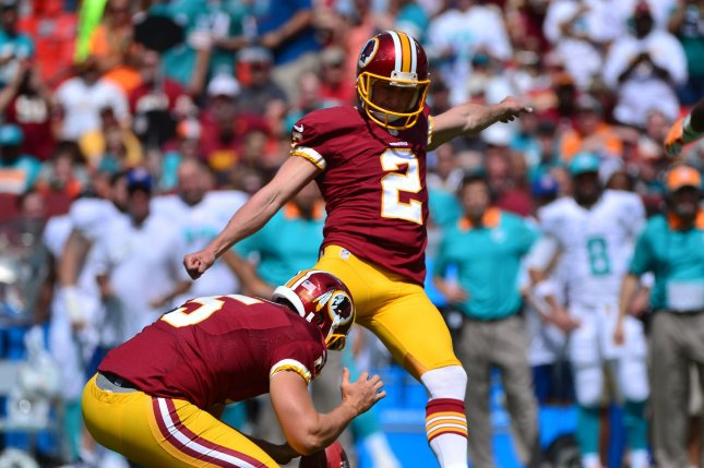 Former Washington Redskins kicker Kai Forbath (2) was cut last week by the New England Patriots after replacing an injured Nick Folk. File Photo by Kevin Dietsch/UPI