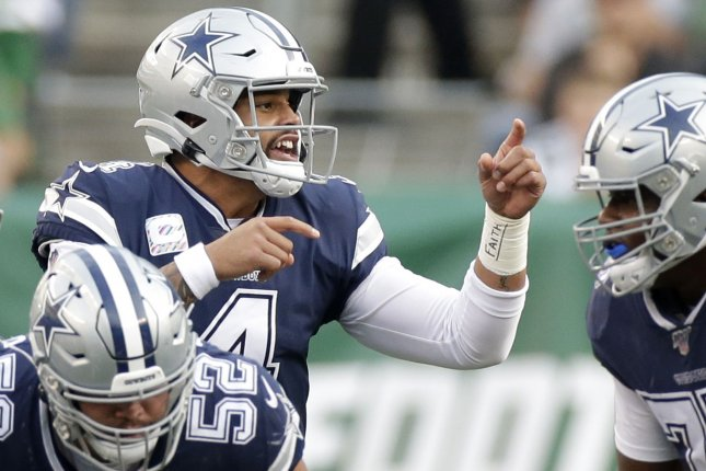 Dallas Cowboys quarterback Dak Prescott will become an unrestricted free agent March 18 if he doesn't agree to a new contract. Photo by John Angelillo/UPI
