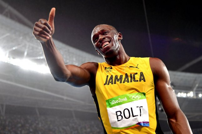 Usain Bolt of Jamaica gives a thumbs up after winning the Men's 200m final at Olympic Stadium at the 2016 Rio Summer Olympics in Rio de Janeiro, Brazil, on August 18, 2016. Bolt took gold with a time of 19.78 seconds. Photo by Kevin Dietsch/UPI