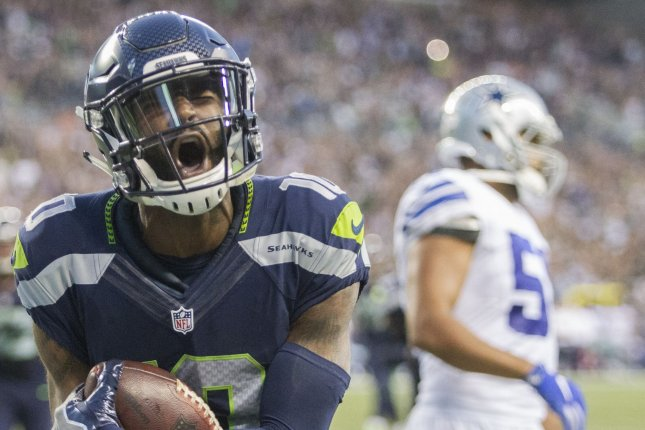 Seattle Seahawks wide receiver Paul Richardson (10) celebrates his nine-yard touchdown against the Dallas Cowboys' at CenturyLink Field in Seattle, Washington on August 25, 2016. The Seahawks beat the Cowboys 27-17. Photo by Jim Bryant/UPI