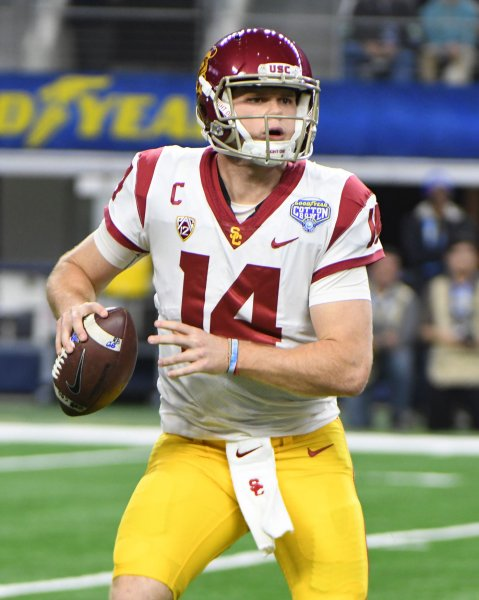 USC quarterback Sam Darnold looks to throw against Ohio State during the Cotton Bowl last month. Photo by Ian Halperin/UPI