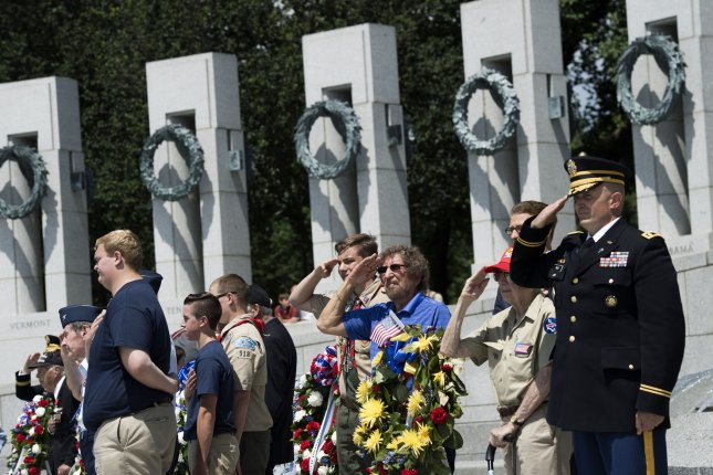 A ceremony at the World War II memorial in Washington, D.C., honors the 73rd anniversary of the end of the war in 2017. File Photo by Kevin Dietsch/UPI