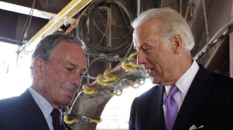 Vice President Joe Biden and New York Mayor Michael Bloomberg stand under the Brooklyn Bridge. File/UPI/John Angelillo