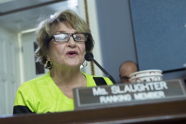 U.S. Rep. Louise Slaughter, D-N.Y., seen here during a House Rules Committee hearing, argues the TPP establishes trading relationships with countries that undermine women's rights. File photo by Kevin Dietsch/UPI