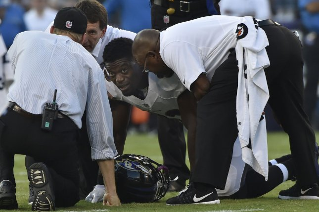 Baltimore Ravens tight end Benjamin Watson (82) is injured on the first play again the Detroit Lions during the first half of their NFL preseason game at M&T Bank Stadium in Baltimore, Maryland, August 27, 2016. Photo by David Tulis/UPI