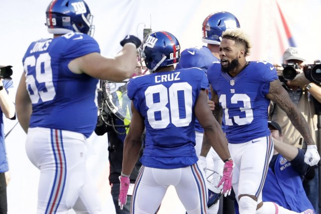 New York Giants' Odell Beckham Jr. takes his helmet off when he celebrates after he catches a a 66 yard touchdown in the 4th quarter against the Baltimore Ravens in week 6 of the NFL at MetLife Stadium in East Rutherford, New Jersey on October 16, 2016. The Giants defeated defeated the Ravens 27-23. Beckham Jr. received a 15 yard unsportsmanlike conduct penalty for taking his helmet off. Photo by John Angelillo/UPI