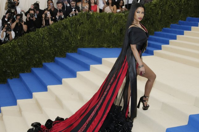 Nicki Minaj arrives on the red carpet at the Costume Institute Benefit at The Metropolitan Museum of Art on May 1. Minaj has shared on Instagram the progress made to a village in India that she donated money to. Photo by John Angelillo/UPI