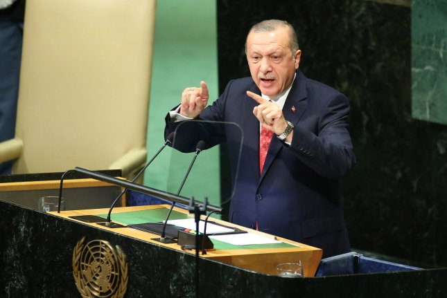 Turkish President Recep Tayyip Erdogan speaks at the United Nations General Assembly on September 25. File Photo by Monika Graff/UPI