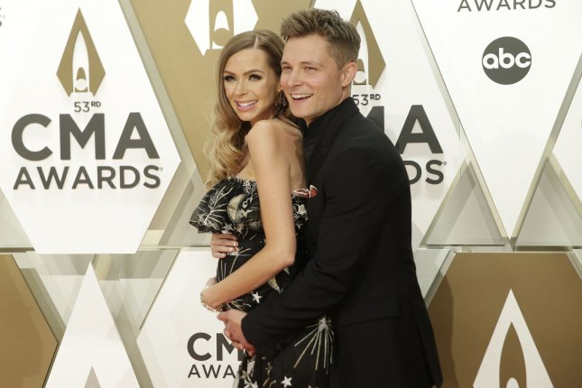 Frankie Ballard (R) and his wife, Christina Ballard, welcomed their first child, daughter Pepper Lynn. File Photo by John Angelillo/UPI