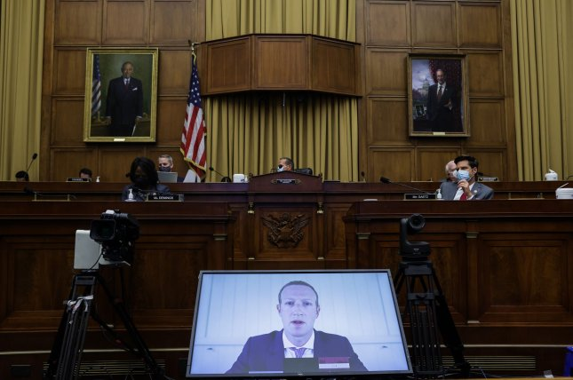 Facebook CEO Mark Zuckerberg speaks via video conference before the House judiciary subcommittee on antitrust, commercial and administrative law Wednesday at the U.S. Capitol. Pool Photo by Graeme Jennings/UPI
