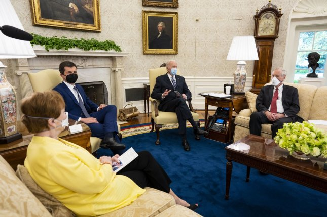 President Joe Biden makes remarks during a meeting with a bipartisan group of U.S. lawmakers to discuss his $2.2 trillion infrastructure plan Monday in the Oval Office at the White House. Pool photo by Doug Mills/UPI