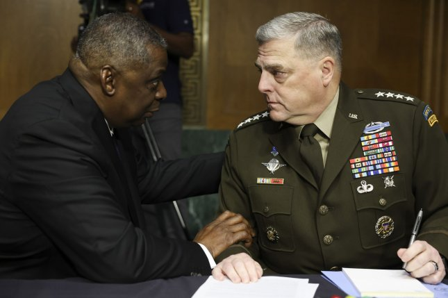 Secretary of Defense Lloyd Austin (L) and Chairman of the Joint Chiefs of Staff Gen. Mark Milley held a joint press conference on Wednesday where they touted the Afghan military's ability to thwart the Taliban. Pool File Photo by Evelyn Hockstein/UPI