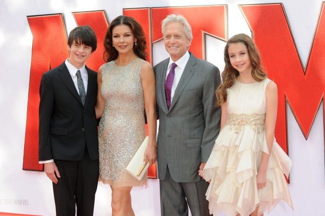Michael Douglas and wife Catherine Zeta-Jones with their children Dylan and Carys at the London premiere of Ant-Man on July 8, 2015. File Photo by Paul Treadway/UPI