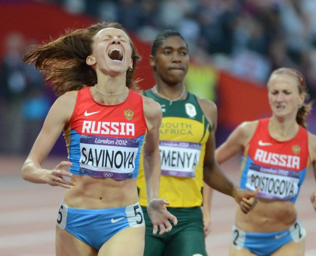 Mariya Savinova of Russia wins the Women's 800M at the London 2012 Summer Olympics on August 11, 2012. Thursday, the Russian Olympic Committee lost an appeal to overturn a ban on its track and field team's participation in the 2016 Summer Olympics in Rio de Janeiro. The World Anti-Doping Agency in November recommended Savinova receive a lifetime ban for doping during the 2012 Olympics. File Photo by Terry Schmitt/UPI