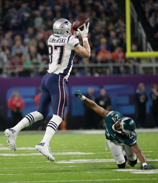 New England Patriots tight end Rob Gronkowski makes a catch during Super Bowl LII against the Philadelphia Eagles in February. Photo by John Angelillo/UPI