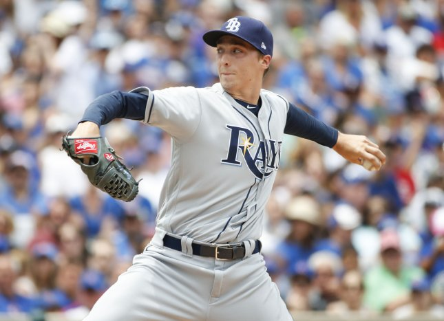 Blake Snell and the Tampa Bay Rays face the Kansas City Royals on Tuesday. Photo by Kamil Krzaczynski/UPI