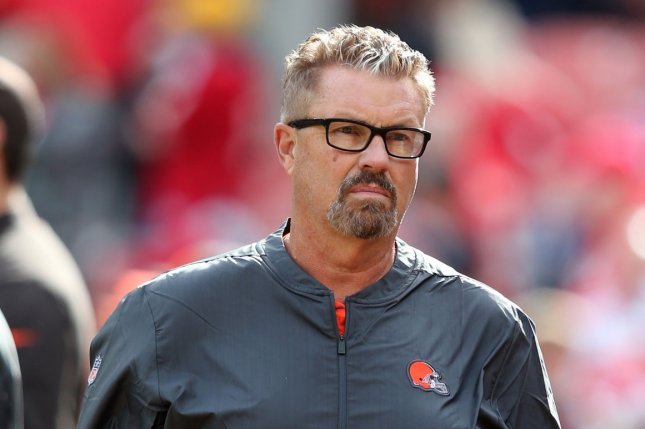 Cleveland Browns interim coach Gregg Williams looks on prior to a game against the Kansas City Chiefs at First Energy Stadium on November 4, 2018. Photo by Aaron Josefczyk/UPI