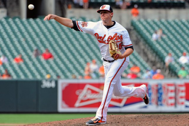 Former Baltimore Orioles relief pitcher Brad Brach (35) is expected to sign with the Chicago Cubs on Thursday. File photo by Mark Goldman/UPI