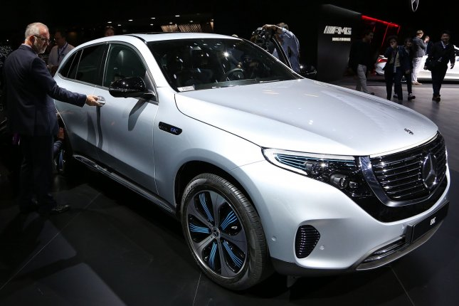 An all-electric Mercedes-Benz EQC is seen at Paris Motor Show in Paris, France, on October 2, 2018. File Photo by David Silpa/UPI
