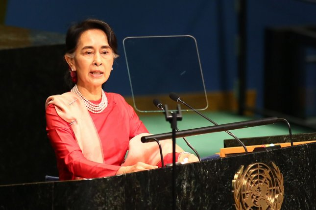 Myanmar leader Aung San Suu Kyi attended a hearing Tuesday in the Netherlands to defend her country against accusations of violence and rape against Muslim Rohingya. File Photo by Monika Graff/UPI
