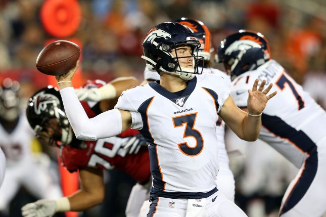Denver Broncos quarterback Drew Lock will miss three to five weeks with a severe strain of the rotator cuff in his throwing shoulder. File Photo by Aaron Josefczyk/UPI