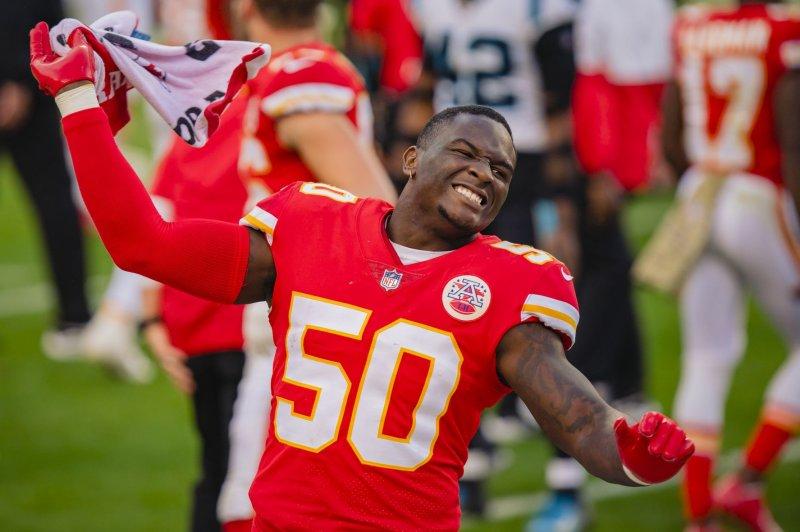 Kansas City Chiefs linebacker Willie Gay Jr. (50) celebrates after a win over the Carolina Panthers on Sunday afternoon at Arrowhead Stadium in Kansas City. Photo by Kyle Rivas/UPI