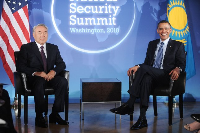 President Barack Obama holds bilateral meeting with President Nazarbayev of Kazakhstan at the Blair House April 11, 2010 in Washington, DC. UPI/Olivier Douliery/POOL