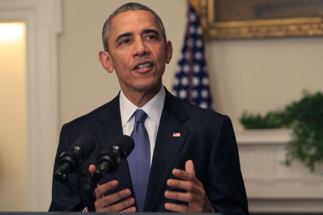 """The 2015 United Nations Climate Change Conference in Paris has reached a final agreement to attempt to curb global warming to less than 2 degrees Celsius by the end of the century. U.S. President Barack Obama makes a statement on the climate agreement in the Cabinet Room of the White House on December 12, 2015. President Obama said on Saturday from the Cabinet Room at the White House, """"The American people should be proud"""" because the landmark accord offered """"the best chance we've had to save the one planet we've got."""" Pool photo by Dennis Brack/UPI"""