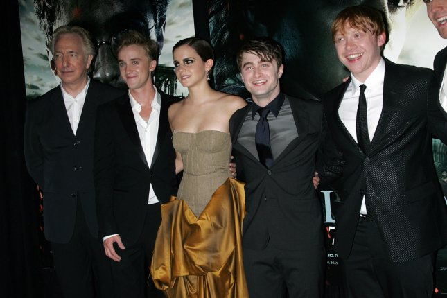 Alan Rickman, seen with (L-R) Tom Felton, Emma Watson, Daniel Radcliffe and Rupert Grint at the premiere of Harry Potter and the Deathly Hallows - Part 2 in New York on July 11, 2011, died of cancer this week, according to his family. File Photo by Laura Cavanaugh/UPI