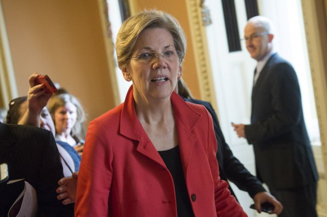 Sen. Elizabeth Warren, D-Mass., indicated Tuesday during a speech on the Senate floor that she may be planning to endorse Vermont Sen. Bernie Sanders for the 2016 Democratic nomination. Photo by Kevin Dietsch/UPI