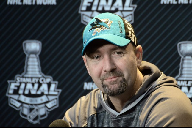 San Jose Sharks head coach Peter Deboer at Media Day on the eve of Game One between the Pittsburgh Penguin and the San Jose Sharks of the Stanley Cup Finals at the Consol Energy Center in Pittsburgh on May 29, 2016. Photo by Archie Carpenter/UPI
