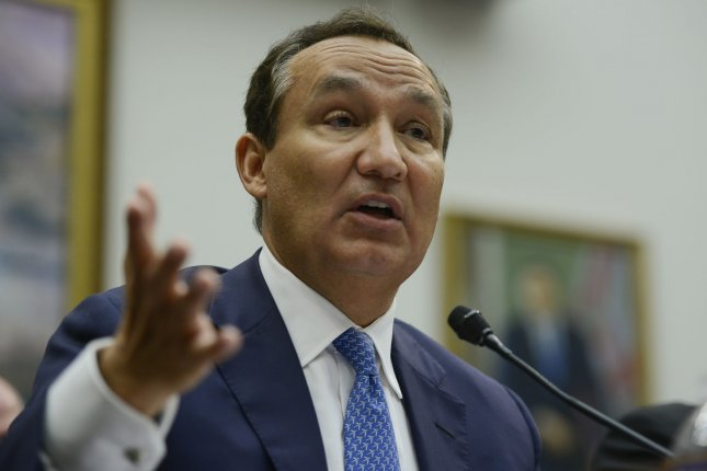 Oscar Munoz, CEO of United Airlines testifies at the House Committee on Transportation and Infrastructure oversight hearing on Capitol Hill in Washington, D.C., on Tuesday. The committee is examining U.S. airlines' customer service issues. Photo by Leigh Vogel/UPI