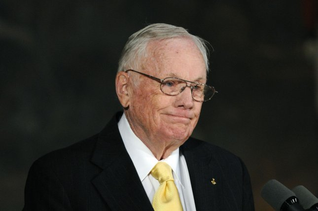 Neil Armstrong speaks during a Congressional Gold Medal Ceremony on Capitol Hill in Washington on November 16, 2011. On August 25, 2012, Armstrong, the first man to walk on the moon, died in Cincinnati. He was 82. File Photo by Roger L. Wollenberg/UPI