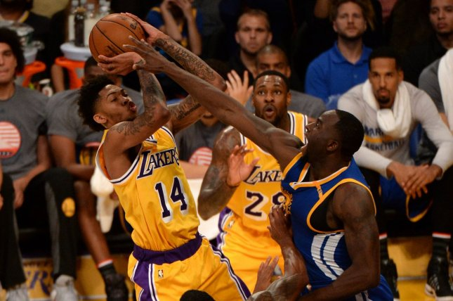 2e9727311 Los Angeles Lakers forward Brandon Ingram (14) shoots over Golden State  Warriors forward Draymond Green during the second half on November 4