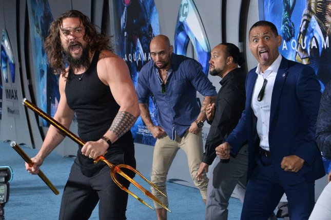 Cast member Jason Momoa joins haka dancers during the premiere of Aquaman in Los Angeles on December 12. Photo by Jim Ruymen/UPI