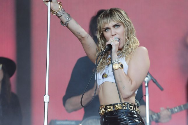 Singer Miley Cyrus has been booked to perform at the 2020 Global Goal Live event. File Photo by Hugo Philpott/UPI