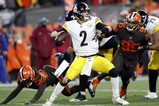 Pittsburgh Steelers quarterback Mason Rudolph (2) threw four interceptions during a loss to the Pittsburgh Steelers Thursday in Cleveland. Photo by Aaron Josefczyk/UPI