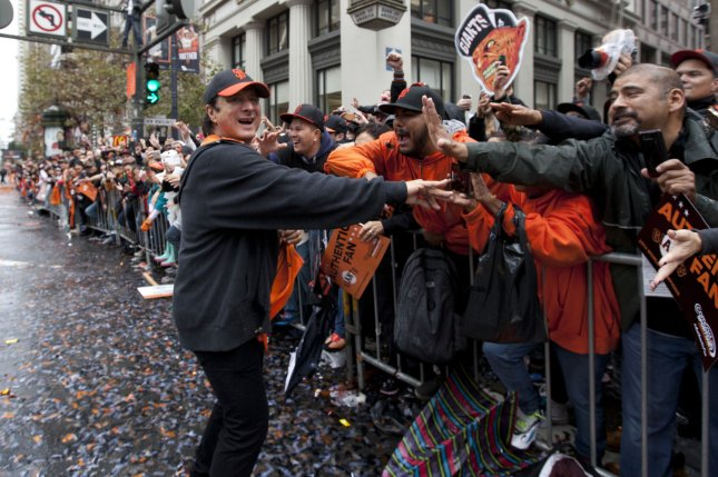 Musician Steve Perry shakes hands with fans at the World Series Parade in San Francisco on October 31, 2014. He turns 71 on January 22. File Photo by Terry Schmitt/UPI