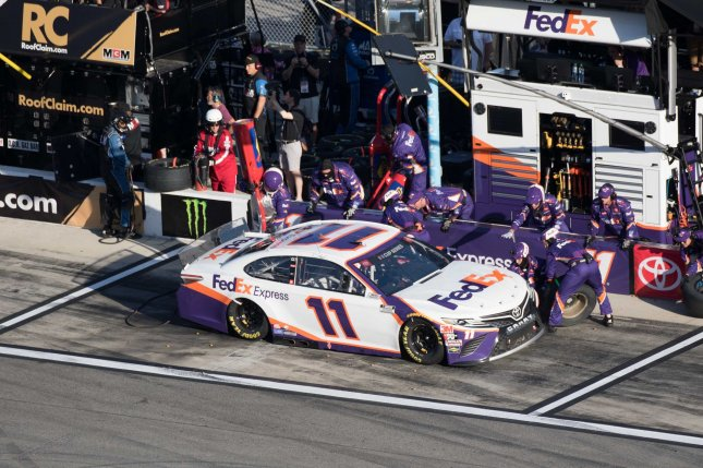 Denny Hamlin won his second Cup Series race of the season after he took home the Toyota 500 Wednesday at Darlington Raceway in Darlington, S.C. File Photo by Edwin Locke/UPI