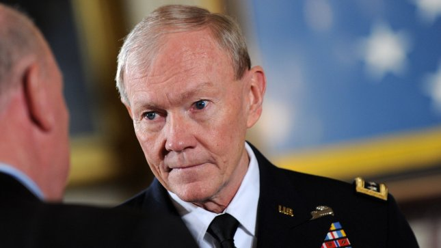 Chairman of the Joint Chiefs Gen. Martin Dempsey arrives in the East Room for a Medal of Honor ceremony at the White House in Washington in this file photo from February 11, 2013. UPI/Kevin Dietsch