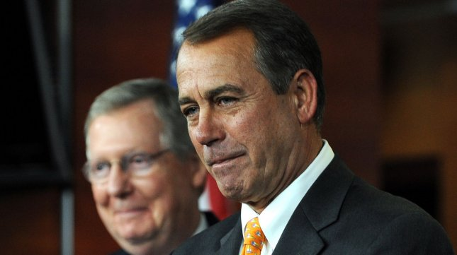 The top two Republicans in Congress, House Speaker John Boehner (R) and Senate Minority Leader Mitch McConnell, endorsed Mitt Romney in his bid for U.S. president. 2010 file photo. UPI/Roger L. Wollenberg